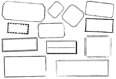 A variety of twelve blank, rectangular stamps. Black, isolated on white. Ideal for bitmap brushes, retro collages, etc.