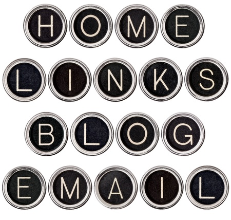 Home, Links, Blog and Email banners formed from vintage typewriter keys. Isolated on white. Each key photographed separately for best focus. photo