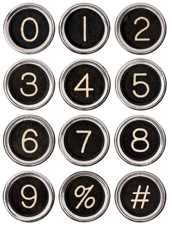 8 9: Full set of vintage typewriter number keys including percent and pound signs