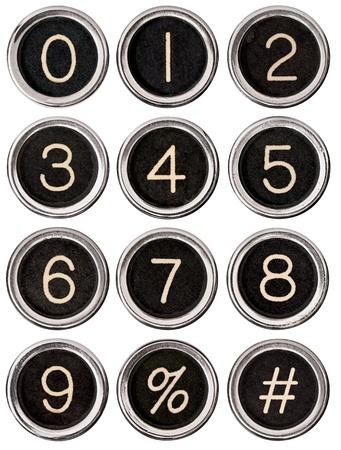 7 9: Full set of vintage typewriter number keys including percent and pound signs