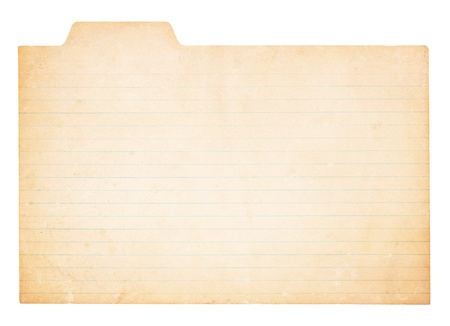 index card: An old, yellowing card with tab. Card is stained and worn in places.  Isolated on white