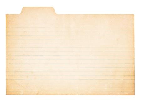 Een oude, vergeling kaart met tabblad. Card wordt bevlekt en versleten op sommige plaatsen. Geà ¯ soleerd op wit