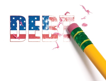 financial burden: Close up of a pencil erasing the word,  debt  filled with the United States flag   Isolated on white  Stock Photo