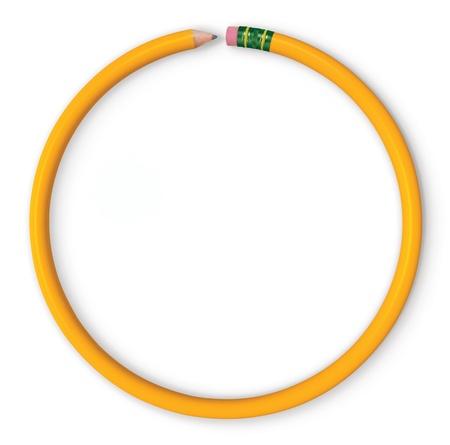 원 모양의 노란색 연필입니다. 흰색에 격리. 스톡 콘텐츠 - 15545513