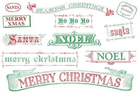 A set of distressed, old-style red and green Christmas-themed stamps. Similar in style to imprints from the 1800s.  Isolated on white.