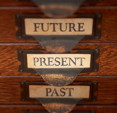 Stack of three old, oak flat file drawers with &quot,PAST PRESENT and FUTURE Stock Photo - 15924088