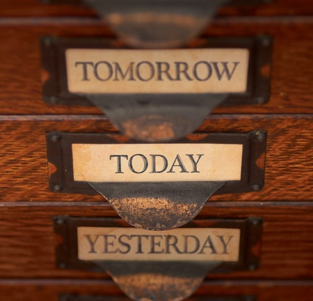 Stack of three old, oak flat file drawers with quote Stock Photo - 16098755