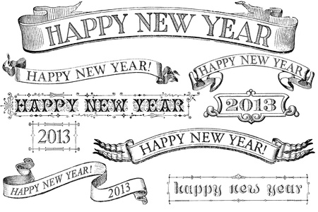 A set of distressed, old-style Happy New Year stamps for 2013. Similar in style to imprints from the 1800s.  Isolated on white. photo