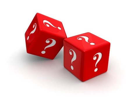 rolling: Photo-real illustration of two red dice engraved with question mark symbols on white background.