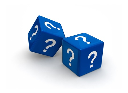 Photo-real illusration of two blue dice engraved question mark symbols on white background. Stok Fotoğraf