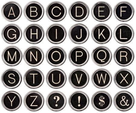 typewriter: Alfabeto completo de teclas de máquina de escribir de época como signo de dólar, signo, signos de interrogación y exclamación