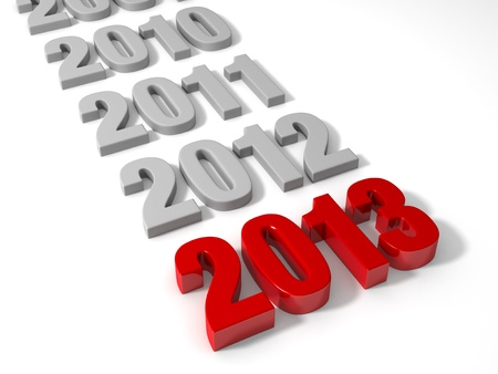 2013 in shiny Red Letters followed by the years recently past in muted gray. Isolated on white. Stock Photo - 16729629