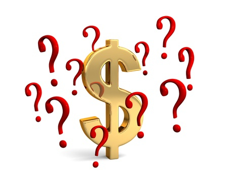 A gold dollar symbol encircled by red question marks portraying financial concepts such as questions about the dollar or how much to spend. Isolated on white Stock Photo