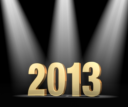 beginnings: Gold 2013 on dark stage, brightly illuminated by three spotlights.