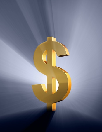 brilliantly: A gold dollar sign on a dark blue background brilliantly backlight with light rays shining through.