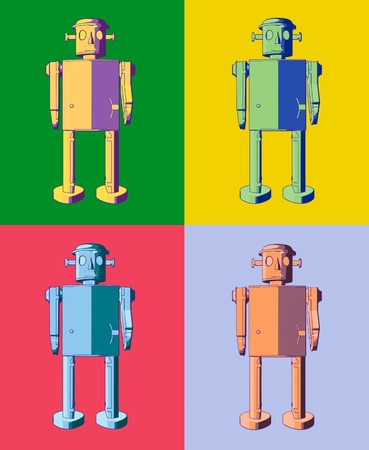 warhol: Warhol style illustration of four tin toy robots, each on different contrasting background color