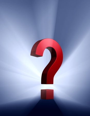 A red question mark on a dark blue background brilliantly backlight with light rays shining through Stock Photo - 17935139