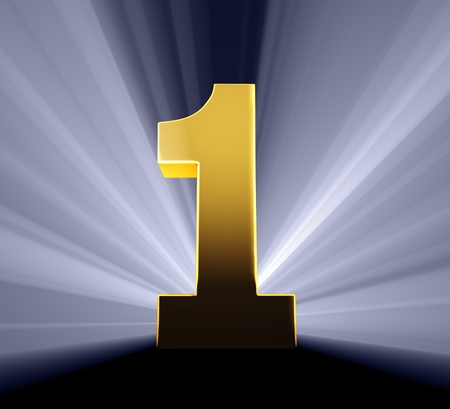 1: Gold number on dark blue background brilliantly backlight with light rays shining through
