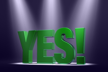 Green word  YES   on dark background highlighted by three bright, blue-tinted spotlights