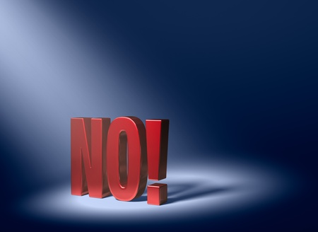 Schuine spotlight het onthullen van een glanzende rode NO op een donkere blauwe achtergrond