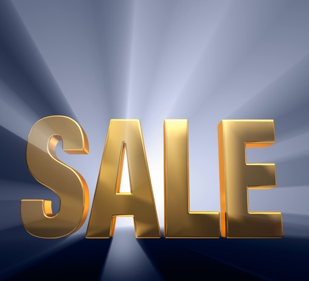 exciting: Gold  SALE  on a dark blue background brilliantly backlight with light rays shining through  Stock Photo