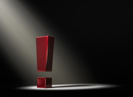 certainty: A red exclamation mark in the dark lit by a single, yellow spotlight