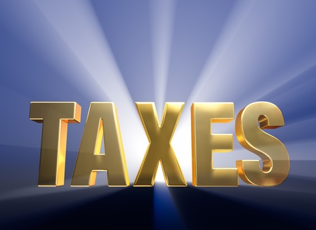 taxpayer: Gold  TAXES  on a dark blue background brilliantly backlight with light rays shining through