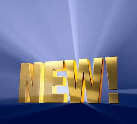 exciting: Gold  NEW   on a dark blue background brilliantly backlight with light rays shining through