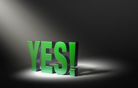 response: Angled spotlight highlighting shiny green  YES   on a dark background