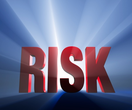 Shiny red RISK on dark blue background brilliantly backlit with light rays shining through.