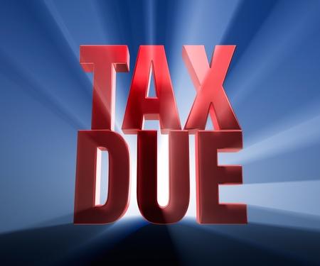 """Gold """"verschuldigde belasting"""" op een donkerblauwe achtergrond briljant verlicht met lichtstralen schijnt door. Stockfoto"""