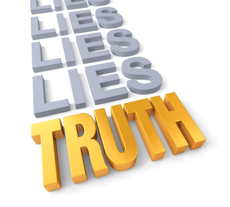 honest: Golden TRUTH finally overcomes a row of dull, blue gray LIES. Isolated on white. Stock Photo
