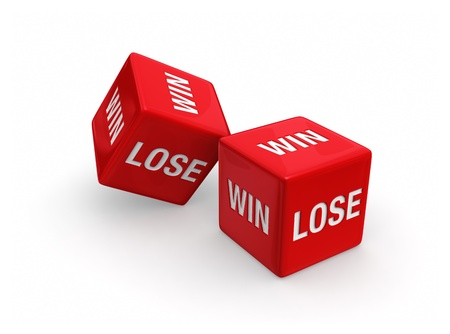 Two red dice engraved with WIN and LOSE on white background. Фото со стока