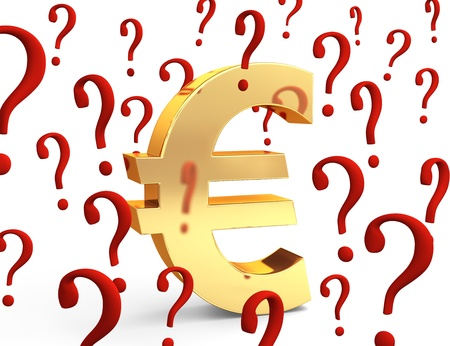 A gold Euro symbol encircled by red question marks portraying financial concepts such as questions about the Euro currency or how much to spend. Isolated on white Stock Photo - 18619409