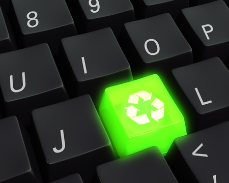 Close up photo-real illustration of a black computer keyboard with a glowing green recycle key  illustration