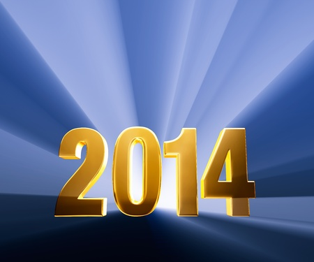 beginnings: Gold 2014 on dark blue background brilliantly backlit with light rays shining through