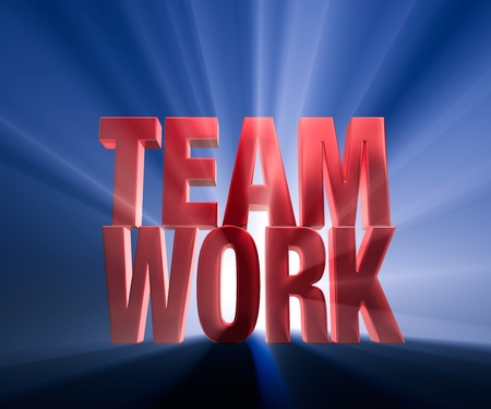 team effort: Bright Red TEAMWORK on dark blue background brilliantly backlit with light rays shining through. Stock Photo