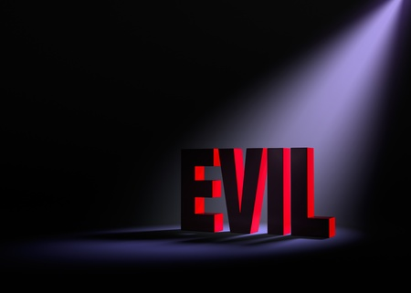 reveal: Angled spotlight backlighting and revealing red EVIL on a dark background.