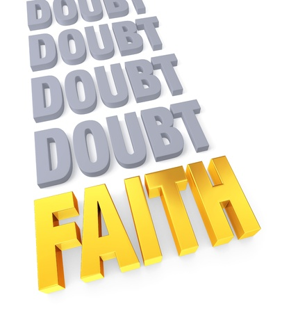 certainty: Row of plain, gray  DOUBT  ending in a bright gold  FAITH   Isolated on white  Stock Photo