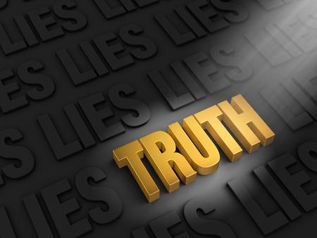 dishonesty: A spotlight illuminates a bright, gold  TRUTH  on a dark background of  LIE s