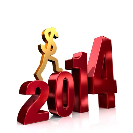 upturn: A gold dollar sign climbing shiny, red steps forming the year,  2014   On white with drop shadow