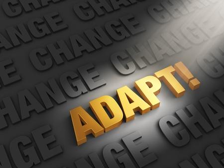adapt: A spotlight illuminates bright, gold  ADAPT   on a dark background of  CHANGE