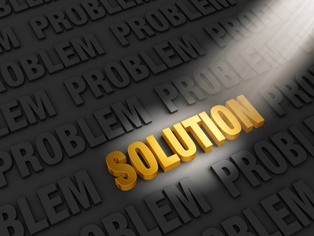 problem solved: A spotlight illuminates bright, gold  SOLUTION  on a dark background of  PROBLEM s