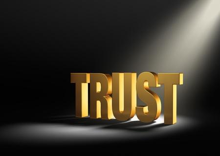 certainty: Angled spotlight revealing shiny gold  TRUST  on a dark background