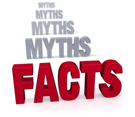 Scherpe focus op grote, glimmende rode FACTS in de voorkant van een rij van platte, grijze MYTHS vervagen en terugwijkende in de verte Geïsoleerd op wit Stockfoto