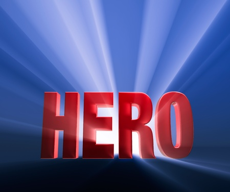 Shiny red  HERO  on dark blue background brilliantly backlit with light rays shining through
