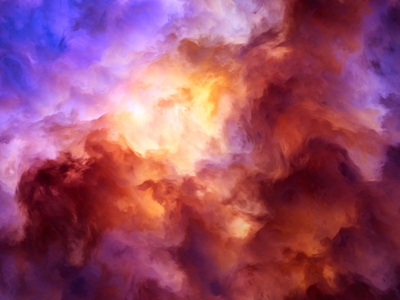 Surreal, storm clouds shading from dark purples and reds to oranges and yellows symbolizing a range of concepts such as creation, the birth of stars, or an ominous maelstrom