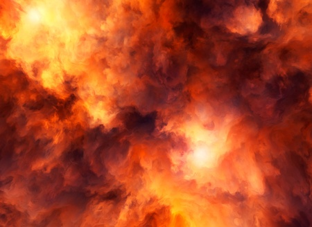 conflagration: Illustrated roiling red and yellow clouds representing intense energy, massive explosion or fiery conflagration