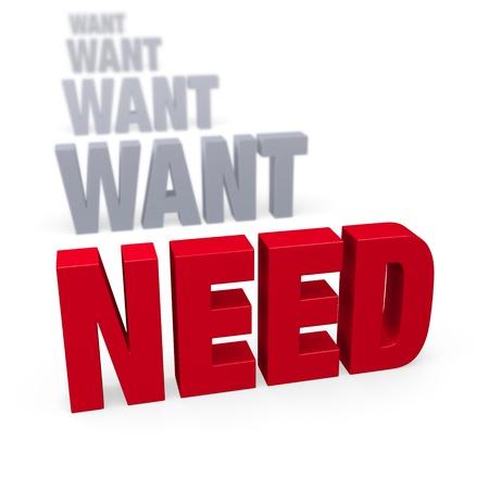"""선명한 회색의 """"NEED""""행 앞에서 선명하고 빨간색 인 """"WANT""""에 초점을 맞추고 거리를 흐릿하게하고 멀어 지도록합니다. 흰색으로 격리. 스톡 콘텐츠"""