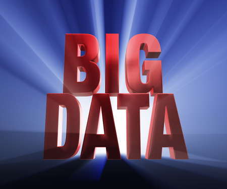 acquire: Bold, red  BIG DATA  on a dark blue background brilliantly backlit with light rays shining through